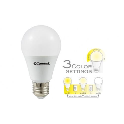 Led žarulja s 3 temperature svjetla E-27/A60 K 3000/4000/6500 305-162